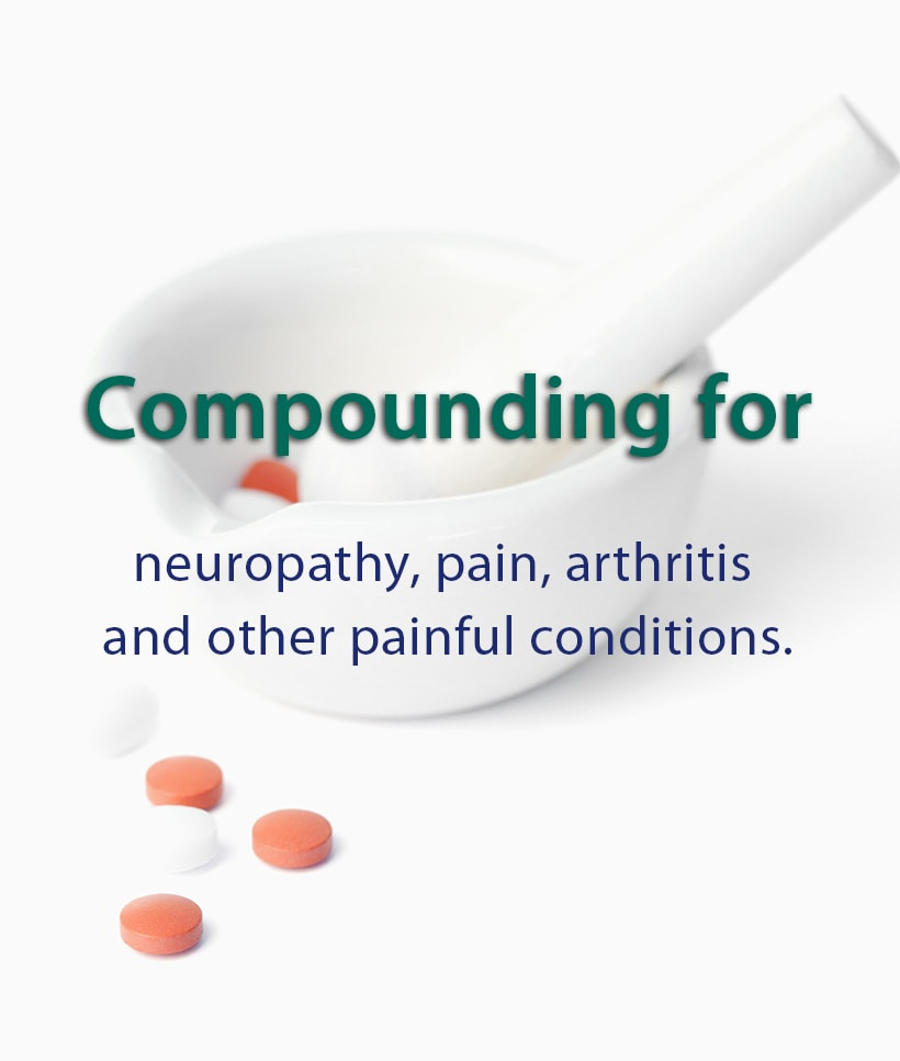 Compounding for neuropathy, pain, arthritis, and other painful conditions.